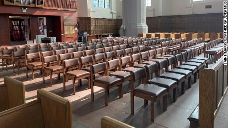 Empty rows at Saint Mark's Episcopal Cathedral in Seattle, Washington.