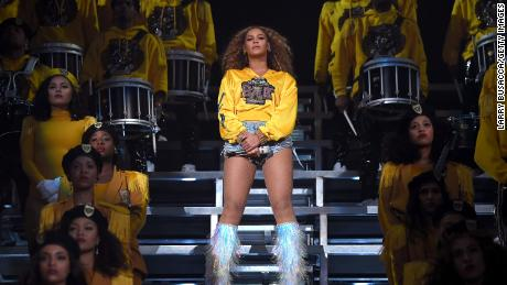 Beyonce performs onstage during 2018 Coachella Valley Music And Arts Festival.
