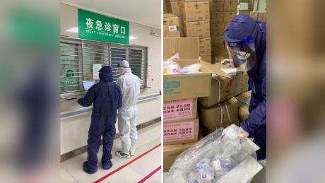 Volunteers from the Wuhan LGBT center pick up medicine to be delivered to people living with HIV across the city, unable to obtain it due to the lockdown.