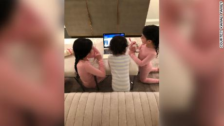 Instead of dressing up in costumes and going to synagogue for Purim, the Kamali chidren gathered around a laptop to watch a livestreamed Megillah reading in their pajamas.