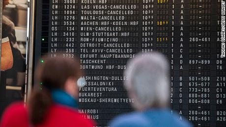 FRANKFURT AM MAIN, GERMANY - MARCH 12: The destination board shows cancelled flights to America and Israel at Frankfurt Airport on March 12, 2020 in Frankfurt, Germany. U.S. President Donald Trump has announced he is imposing a ban, beginning tomorrow at midnight, on most travellers from continental Europe in an effort to stop the spread of the coronavirus. U.S. citizens and their families will still be allowed to travel and the measure is not supposed to affect international trade. Europe currently has approximately 25,000 confirmed cases of the coronavirus, with approximately half of those in Italy. (Photo by Thomas Lohnes/Getty Images)