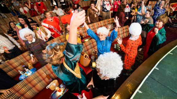 "Fans of ""The Golden Girls"" live it up during the Golden Fans at Sea costume contest."
