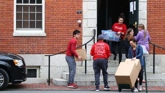 Students move out their dorms at Harvard University on March 12.