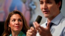 Liberal leader and Canadian Prime Minister Justin Trudeau and his wife Sophie Gregoire Trudeau visit a Royal Canadian Legion as he campaigns for the upcoming election, in Greenfield Park, Quebec, Canada October 16, 2019. REUTERS/Stephane Mahe