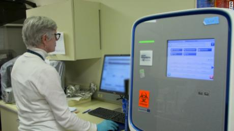 Doctors at University of Nebraska Medical Center analyze coronavirus lab test results that had just been processed.