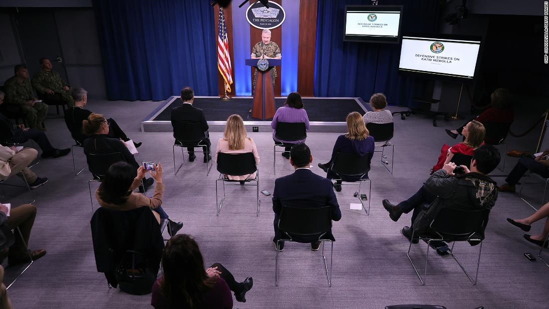 Reporters in Arlington, Virginia, sit approximately 4 feet apart during a briefing by Marine Corps Gen. Kenneth F. McKenzie on Friday, March 13.