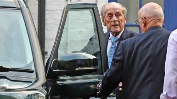 Prince Philip leaves a London hospital in December 2019, after being admitted for observation and treatment in relation to a pre-existing condition.