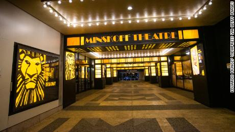 External view of a closed theater after New York cancelled all gatherings over 500 people due to COVID-19.