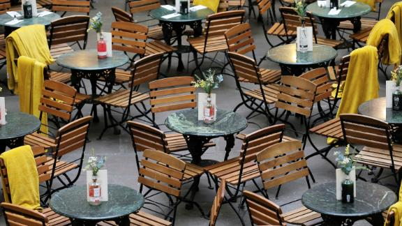 Restaurant seats stand empty in Covent Garden in London, Britain March 13, 2020.