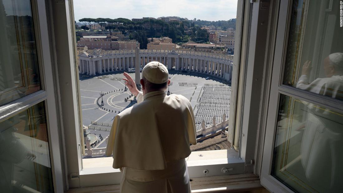 Pope Francis delivers his blessing to an empty St. Peter's Square at the Vatican on March 15.