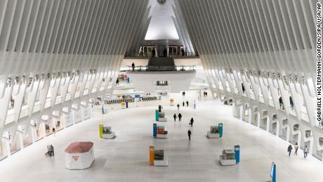 Oculus, a major transportation hub in New York City, is almost deserted Saturday amid the coronavirus outbreak.