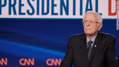 Vermont Sen. Bernie Sanders participate in the Democratic debate in Washington, on Sunday, March 15.