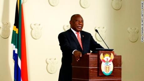 South African President Cyril Ramaphosa addresses the nation following a special cabinet meeting on matters relating to the Covid-19 epidemic in Pretoria, on March 15, 2020.