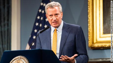 New York City Mayor Bill de Blasio (D) speaks at a press conference about COVID-19 and the closing of K-12 public schools in New York City.