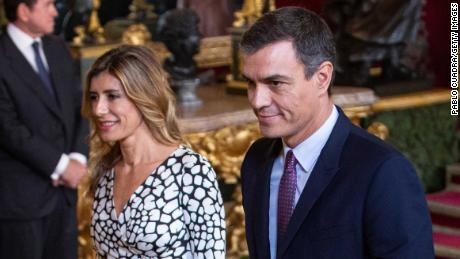 Spanish Prime Minister Pedro Sanchez and his wife Maria Begona Gomez Fernandez in October last year.