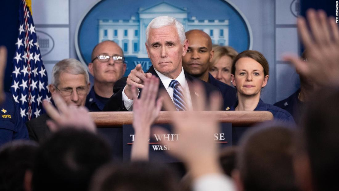 US Vice President Mike Pence takes a question during a White House briefing about the coronavirus on March 15.