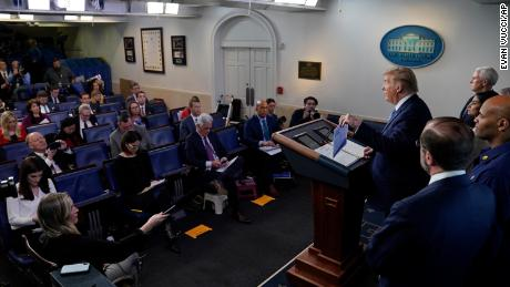 President Donald Trump speaks during a press briefing with the coronavirus task force, in the Brady press briefing room at the White House, Monday, March 16, 2020, in Washington.