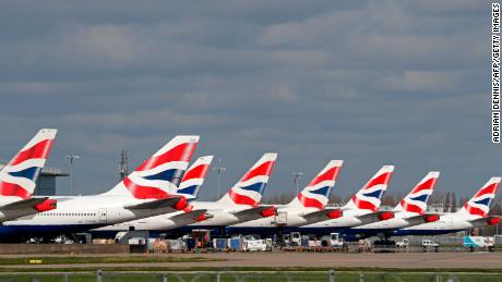 British Airways planes grounded at London's Heathrow.