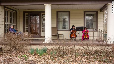 Two siblings held a porch concert for a neighbor who is self-isolating
