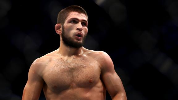 ABU DHABI, UNITED ARAB EMIRATES - SEPTEMBER 07: Khabib Nurmagomedov of Russia lokks on  against Dustin Poirier of United States in their Lightweight Title Bout during the UFC 242 event at The Arena on September 07, 2019 in Abu Dhabi, United Arab Emirates. (Photo by Francois Nel/Getty Images)