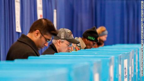Chicago voters cast their ballots during Illinois primary in Chicago, Illinois, on March 17, 2020.