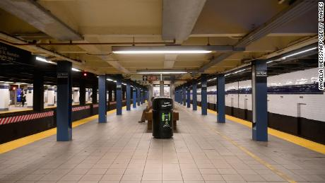 A near empty subway station in downtown Brooklyn last month.