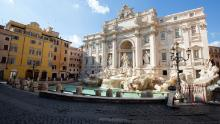 The usually packed Fontana di Trevi in Rome lie empty during the lockdown imposed nationwide by the Italian government.