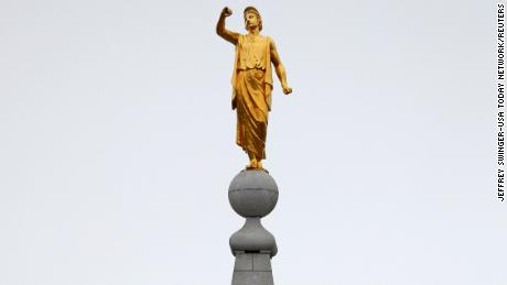 The Angel Moroni statue atop the Salt Lake Temple of the Church of Jesus Christ of Latter-day Saints lost his trumpet in an earthquake Wednesday.