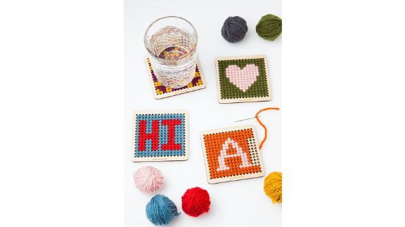 DIY Cross Stitch Wood Coaster Kit