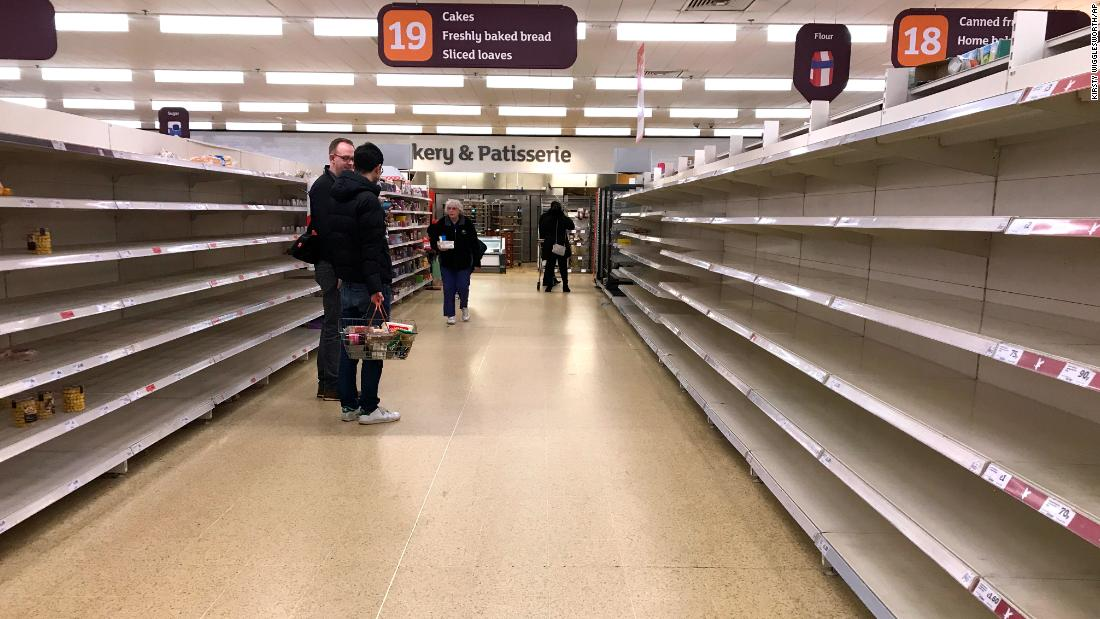 Empty shelves in a supermarket in London, Thursday, March 19, 2020.
