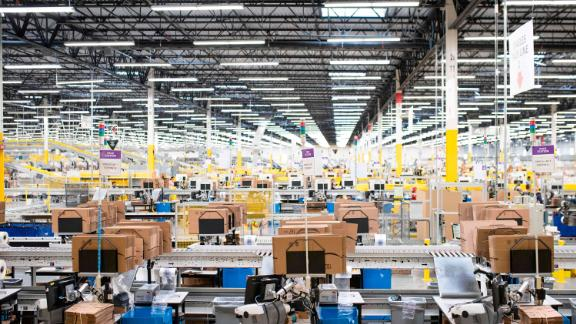 The pack mezzanine is seen during a tour of Amazon's Fulfillment Center, September 21, 2018 in Kent, Washington.