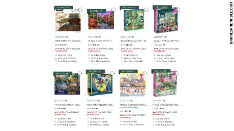 A selection of popular puzzles from Barnes & Noble shows trendy themes, like Baby Yoda.