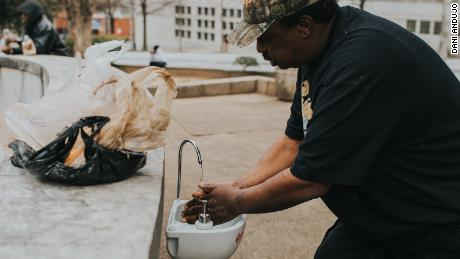 He was once homeless. Now he's providing sinks, water and soap to help protect those on the streets from the coronavirus