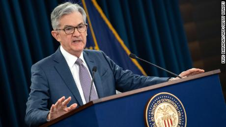 US Federal Reserve Chairman Jerome Powell gives a press briefing after the surprise rate cut on March 3.