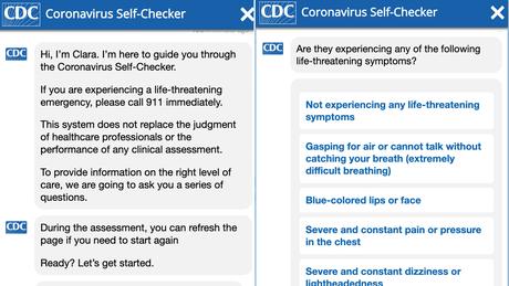 Details from the CDC's Coronavirus Self-Checker