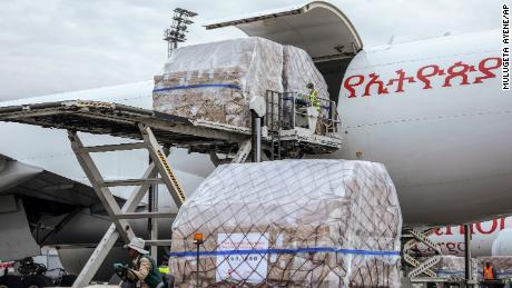A cargo flight containing the supplies arrives Addis Ababa on Sunday.