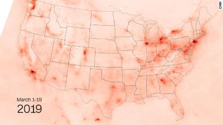 Nitrogen dioxide pollution in 2019.