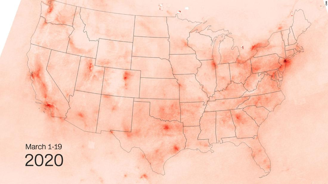 Satellite images show less pollution over the US as coronavirus shuts down public places