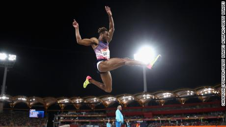 Smith competes in the long jump final of the 2018 Commonwealth Games on Australia's Gold Coast.