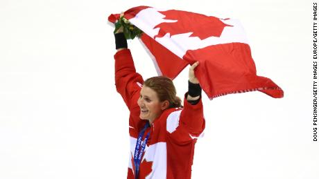 Wickenheiser celebrates victory over the United States at the 2014 Winter Olympics in Sochi, Russia.