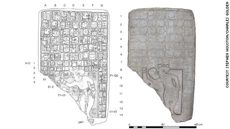 Researchers made a drawing, left, and 3d model of the stone tablet.