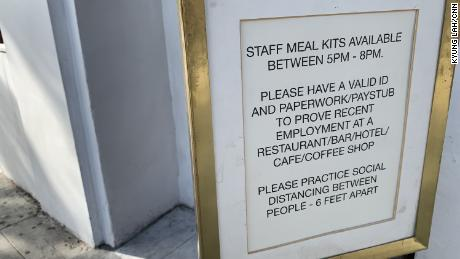 """""""Employees Only"""" in West Hollywood, CA is giving out free staff meals to restaurant industry workers who are able to show a valid ID and recent pay stub. The food is coming from what is left in the restaurant's own pantry as well as from other local restaurants and financial donations from their vendors."""
