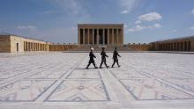 Soldiers walk at the empty mausoleum of the founder of the Turkish Republic Mustafa Kemal Ataturk in Ankara on March 23.