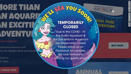 A screengrab of the San Antonio Aquarium website from March 23, 2020.