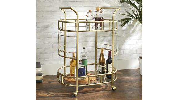 Better Homes & Gardens Fitzgerald 2-Tier Bar Cart, Gold