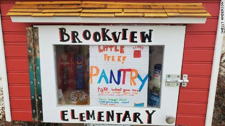 Brookview Elementary's Little Free Library has turned into a Little Free Pantry.