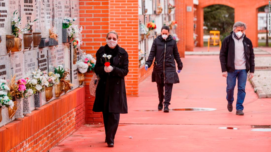 People arrive at the South Municipal Cemetery in Madrid to attend the burial of a man who died from the coronavirus.