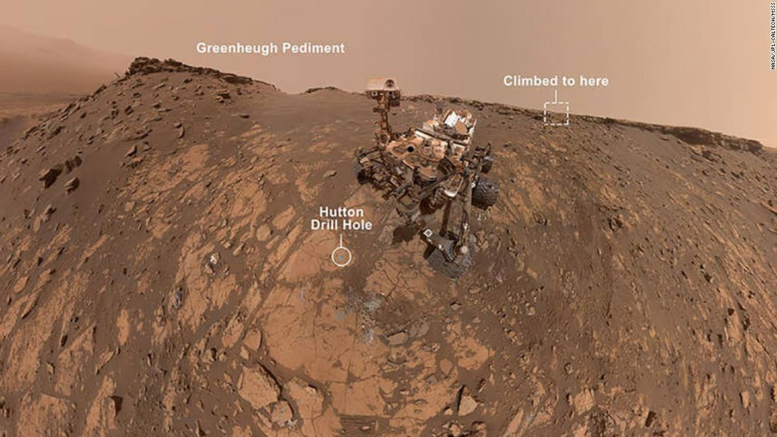 NASA's Curiosity Mars rover took a selfie shortly before completing its steepest climb yet on Mars up the Greenheugh Pediment, which tilted the rover 31 degrees.