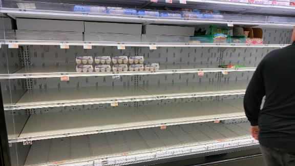 SHORT HILLS, NJ - MARCH 15:  A general view of a virtually empty shelves of eggs and dairy on March 15, 2020 at Kings Supermarket in Short Hills, NJ. (Photo by Rich Graessle/Icon Sportswire via Getty Images)