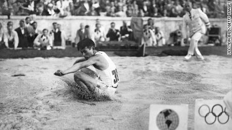 Naoto Tajima (Japan) competing in the triple jump at Berlin 1936  (Photo by ullstein bild/ullstein bild via Getty Images)